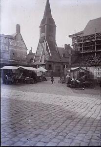 FRANCE-Honfleur-Eglise-c1910-NEGATIF-Stereo-Photo-Vintage-Plaque-Verre-VR5L5