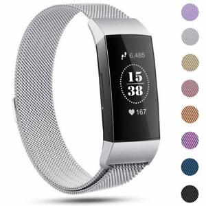Milanese Magnetic Loop Stainless Steel Band Strap Fitbit Charge 3 4 Wristband