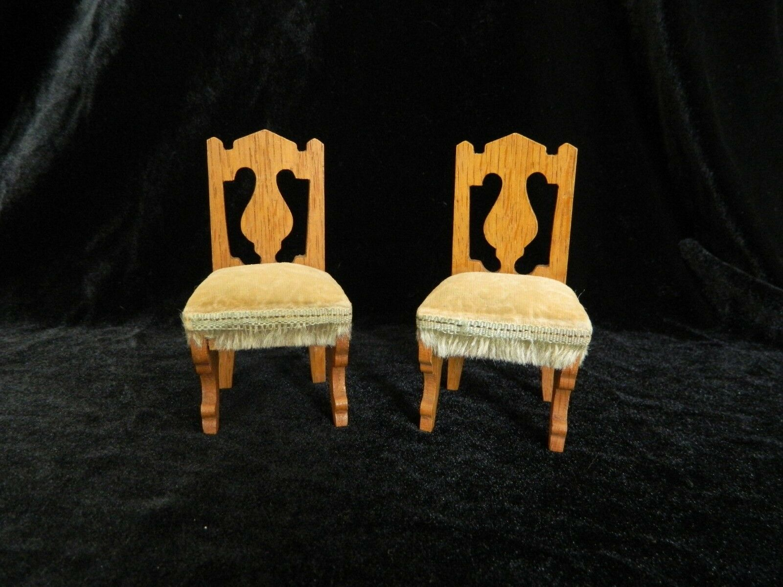 Pair Antique Dollhouse PARLOR CHAIRS Upholsterot & Padded - Excellent Condition