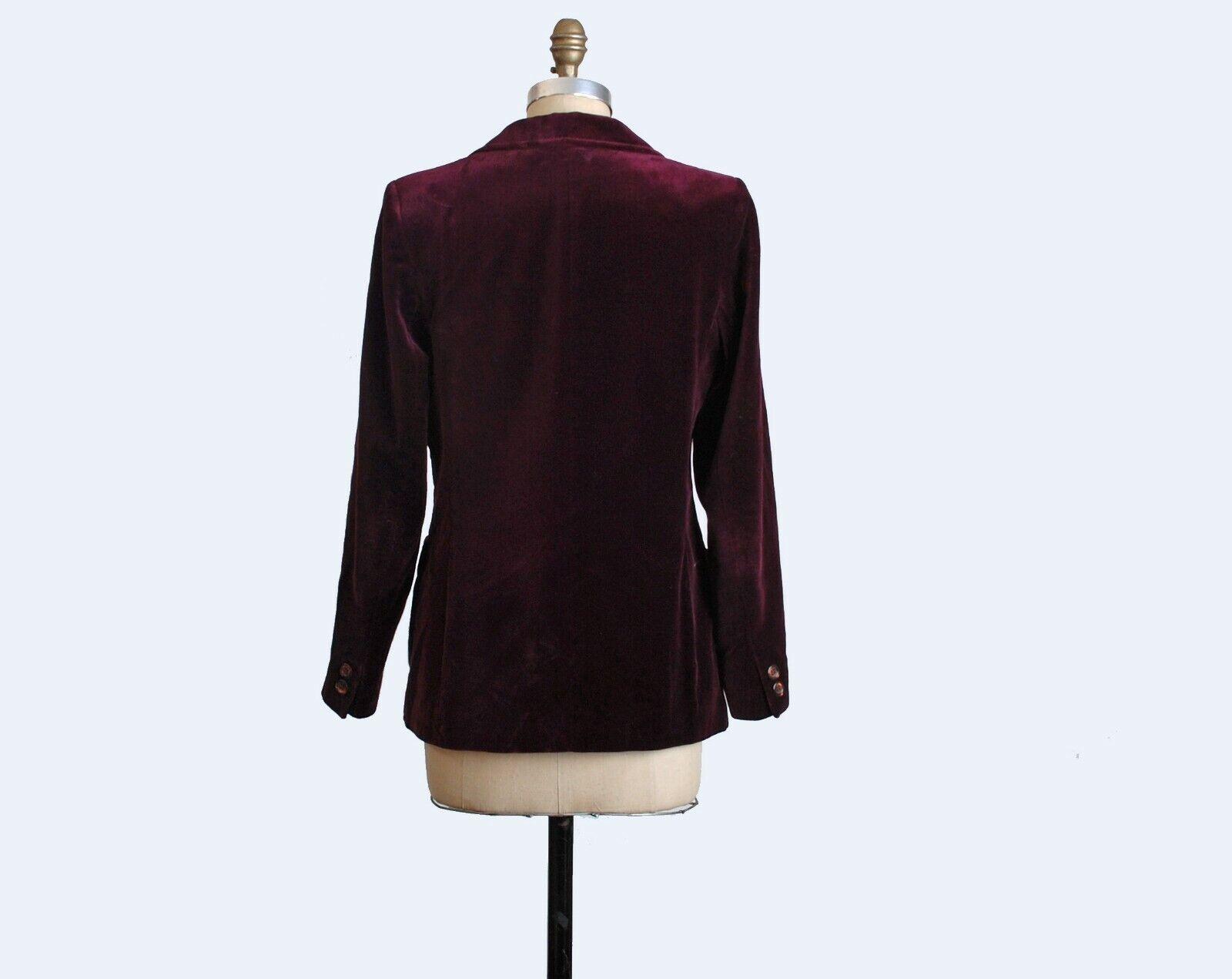 VTG 70s Burgundy Red Velvet Blazer Jacket Velvet … - image 3