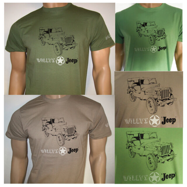 WILLYS JEEP MB T-SHIRT - US American WWII model, Military Star logo 1942-45 WWII
