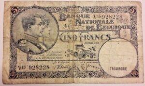 BELGIUM 5 Francs 1938 Belgïe TTB. Type 1919 Franck Stacquet TRESORERIE THESAURIE