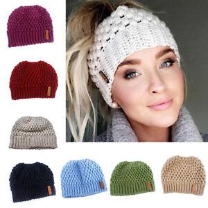 c9070e7d Women Ponytail Beanie Hat Bun Stretch Knitted Cap Warm Hats Winter ...