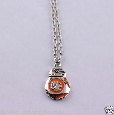 STAR WARS VII The Force Awakens BB8 Silver Orange Pendant Necklace Link Chain