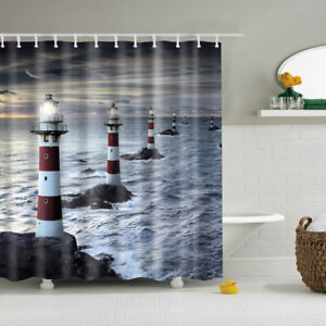 Image Is Loading Modern Design Lighthouse Bathroom Polyester Shower Curtain Set