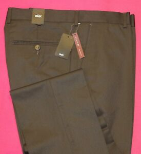 hombre-pantalones-de-Vestir-Talla-40-Verde-Oliva-Liso-MAX-pleatless
