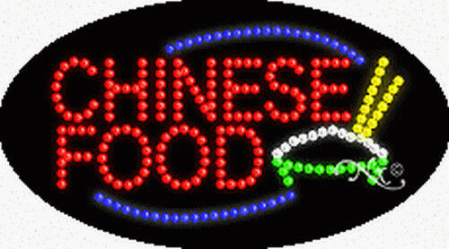 """NEW /""""CHINESE FOOD/"""" 27x15x1 OVAL SOLID//ANIMATED LED SIGN w//CUSTOM OPTIONS 24031"""