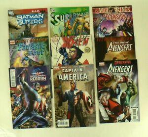 Lot-of-9-Marvel-Comics-Avengers-Cap-039-t-America-X-Men-Fantastic-4-Superman-Batman