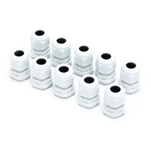 10Pcs x 5-10mm Cables Waterproof PG11 Black White Plastic Glands Connecto mj69