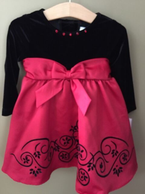 ae4f655e0 Girls Rare Editions 18 Months Holiday Dress Black Red Bow NEW NWT Christmas