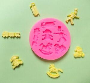 Details About Silikon Form Mould Fondant 6 X Torten Deko Cupcake Marzipan Taufe Baby Puppe Zug