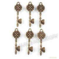 50pcs Nice Antique Bronze Key Charms Alloy Pendants Jewelry Findings DIY 34mm LC