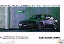 Publicité advertising 1985 (2 pages) Porsche 944 Turbo