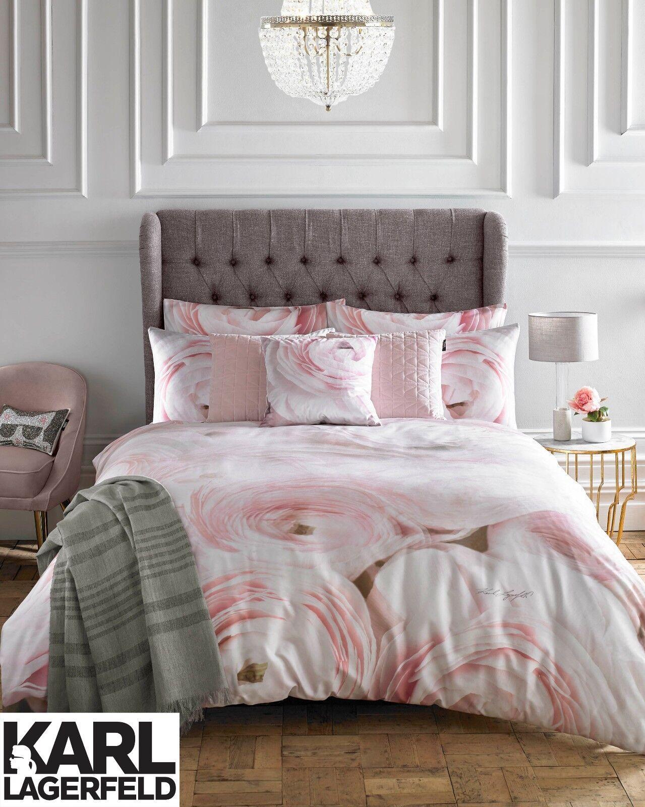 Karl Lagerfeld Designer RANA pink Floral Printed 100% Cotton Bedding Bed Linen