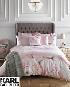 Karl-Lagerfeld-Designer-Rana-Floral-rose-imprime-100-Coton-Literie