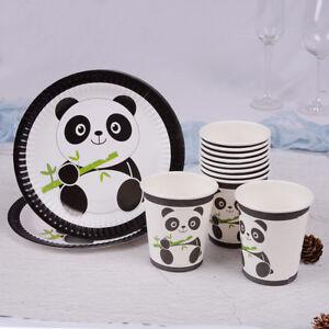 10pcs-Panda-theme-paper-plates-disposable-paper-cups-kids-birthday-party-dec-ZP0