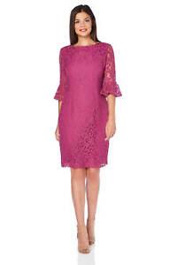 Image is loading Roman-Originals-Ladies-Frill-Sleeve-Lace-Shift-Dress- 70d942c7a