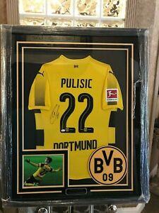 Details about Christian Pulisic Borussia Dortmund Autographed Soccer Jersey Custom Framed COA