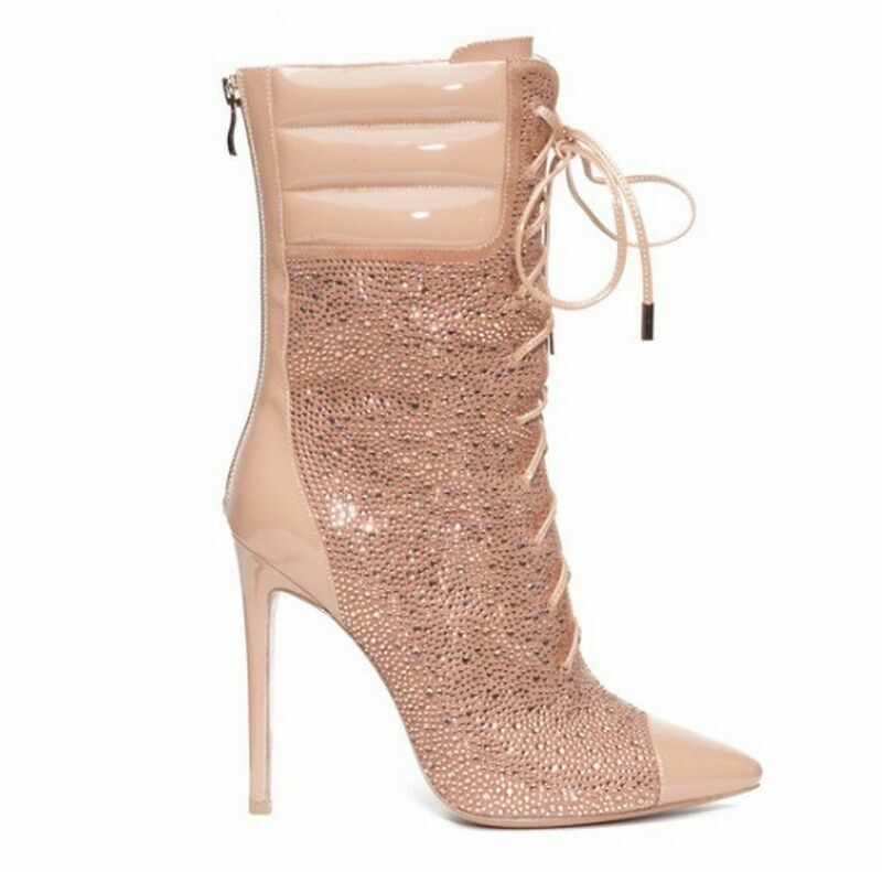 JENNIFER LE AXL CHAMPAGNE CRYSTAL PATENT LEATHER chaussures HEELS bottes bottes bottes NEW CARDI B a81908