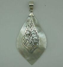 z 925 Sterling Silver Mother Of Pearl Pendant - New - Handmade Ethenic Design