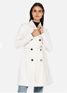 Women's Express Soft Ivory Belted Wool Blend Trench Coat Small S NWT