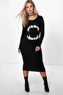 Boohoo Womens Plus Molly Halloween Vampire Teeth Midi Dress