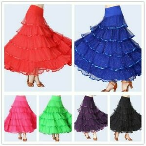 Ladies-Ballroom-Skirts-Modern-Dance-Tutu-Dress-Sequin-Waltz-Tango-Latin-Costume