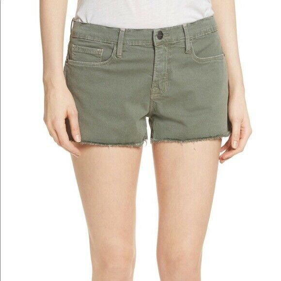 FRAME Denim NWT  175 Le Cutoff Shorts in Platoon Green Sz 28 and 33 Raw Hem