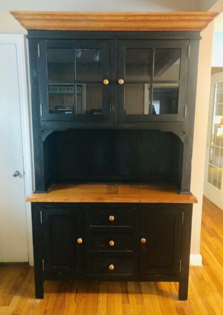 2 piece black distressed china cabinet real wood western rustic rh ebay com