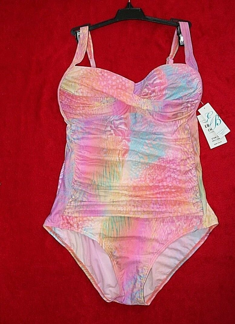 Emerald Bay One Piece Pink Print Swimsuit size 12 or 14 Retail  76