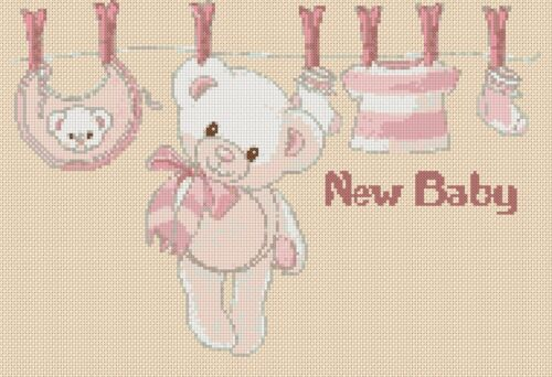 Cross Stitch Chart New Baby Birth Sampler its a girl FlowerPower37-uk