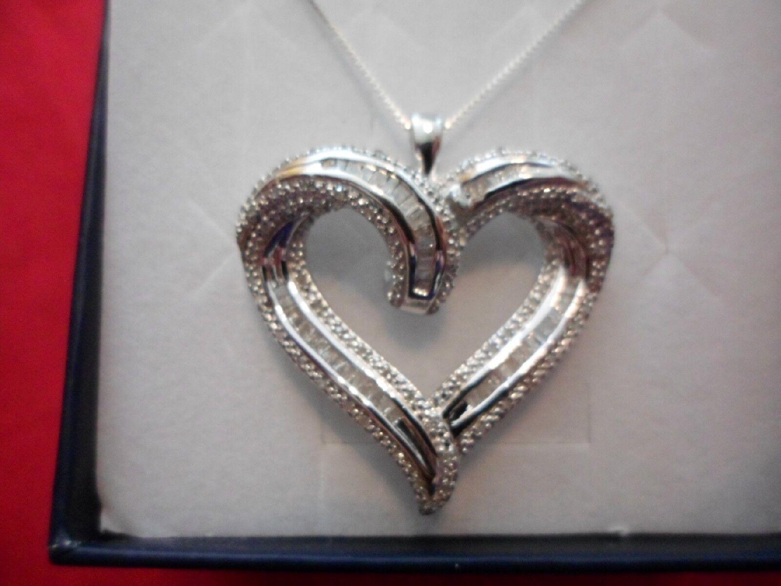 Round & Baguette Open Heart Pendant in 925 Sterling w 18  Chain