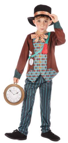 Boys Kids Mad Hatter Alice in Wonderland Book Day Week Fancy Dress Costume 4-12