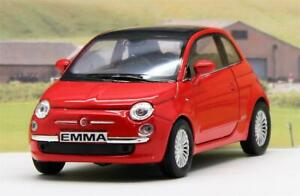 PERSONALISED-PLATES-Red-Fiat-500-Boys-Girls-Toy-Model-Car-Birthday-Present-Boxed