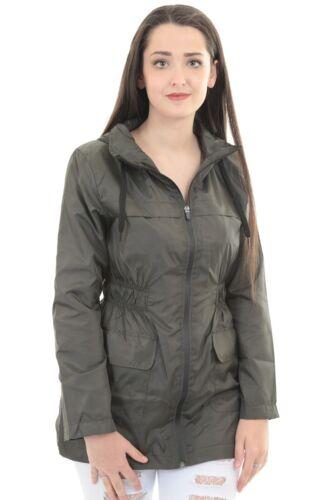 Womens Lightweight High Neck Shower Proof Zipper Unlined Hooded Jacket Coat