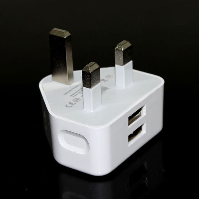 2.1A AMP Fast Dual Twin 2 Port USB Charger UK Mains Wall Plug Adapter Home