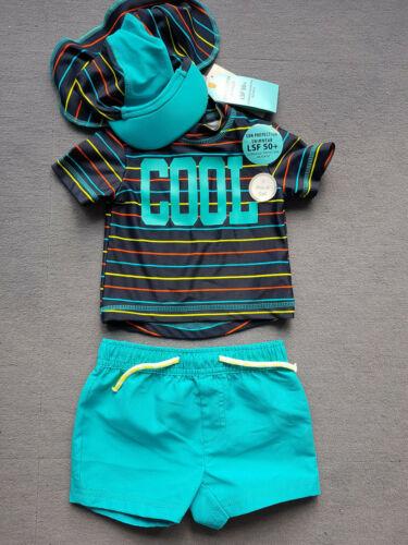 3teilig UV-Schutz 50 Schwimmanzug Jungen Mütze Hut Baby Nackenschutz 74 92
