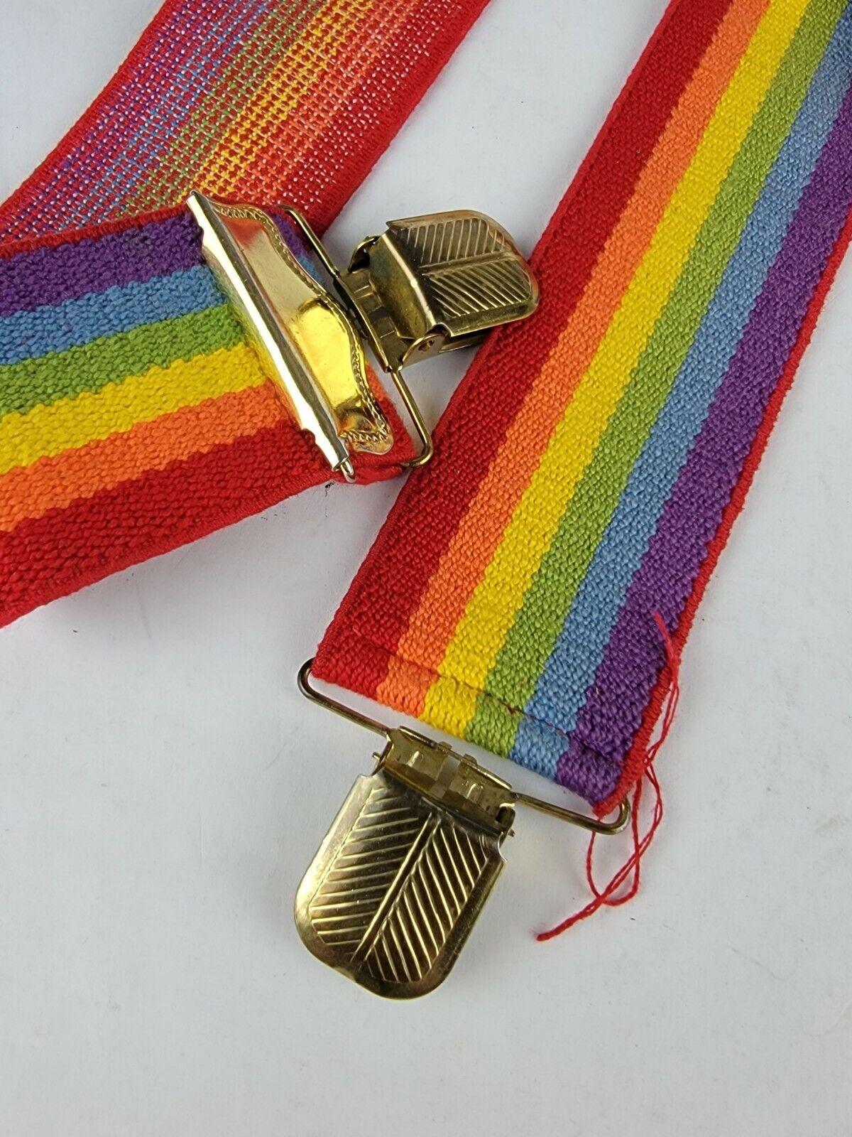 "Vintage 2"" x 35"" Rainbow Suspenders Adjustable Un… - image 2"