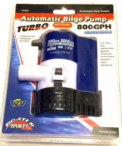 """Boater Sports 57422 Automatic Bilge Pump w Float Switch 800 GPH 3//4/"""" Outlet"""