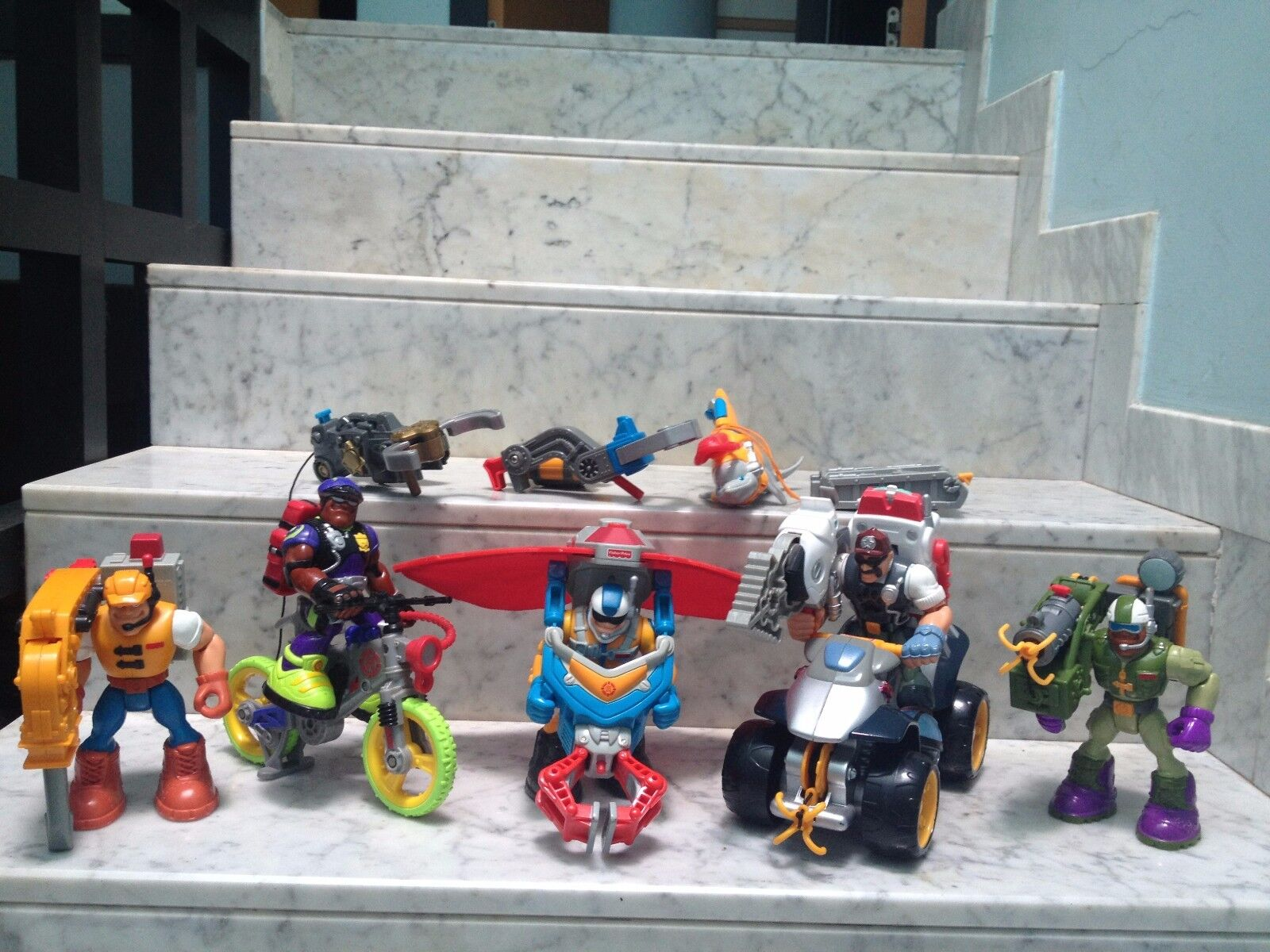 FISHER PRICE - RESCUE HEROES Lotto 5 personaggi e accessori