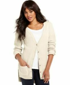 New-Womens-Maison-Jules-Long-Sleeve-Knit-Top-High-Low-Cardigan-Sweater-Ivory-Xl
