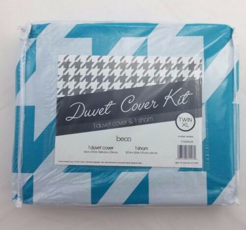 Beco Home Duvet Cover Kit Blue Turquoise Pattern Twin XL Pack of 1