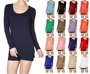 Scoop-Neck-Basic-Long-Sleeve-T-Shirt-Solid-Cotton-Stretch-Womens-Plain-Top-S-M-L