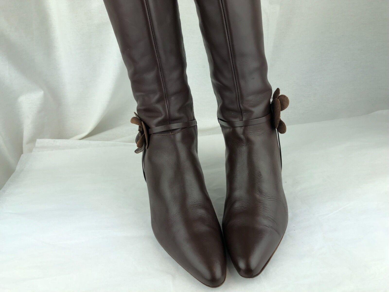 J.Crew J.Crew J.Crew Brown Leather Side Zip Flower Knee Boots Women's Size 8 H Style 57240 dfe691
