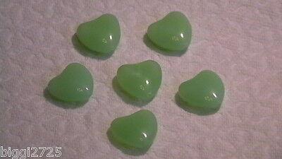 6 wunderschöne Glas Perlen - Herz - Chrysolite - 17x7 mm - 1A Qualität