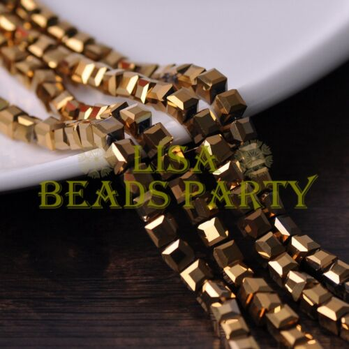 50pcs 6mm Cube Square Faceted Crystal Glass Loose Spacer Beads Gold Plated