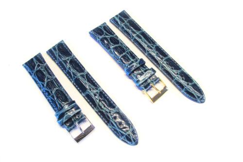 NEU! XL Uhrenarmband aus  Rindsleder mit Krokoprägung hellblau in 16//18//20mm