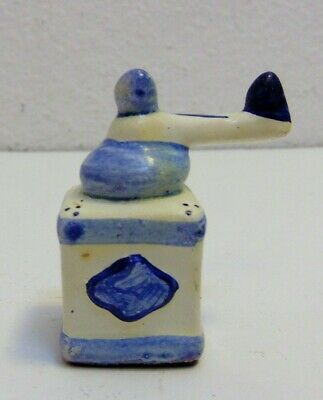 Coffee Grinder Porcelain Blue And White Dollhouse Mini Size Accessory 2""