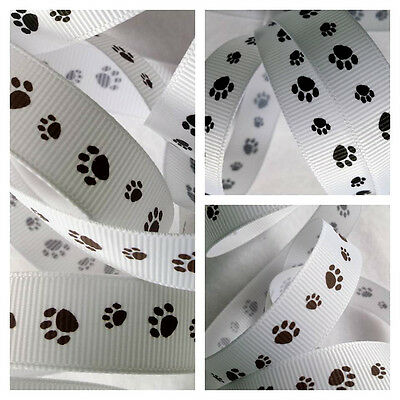 free postage Grosgrain Paw Print Ribbon 16mm in 4m cut lengths