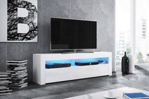 Alan-meuble-TV-160-cm-Blanc-Gris-Noir-Effet-Bois-Chene-LED-bleue-design-salon